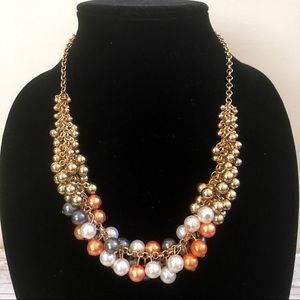 Jewelry - Statement Necklace-Gold-Orange-White-Gray beading